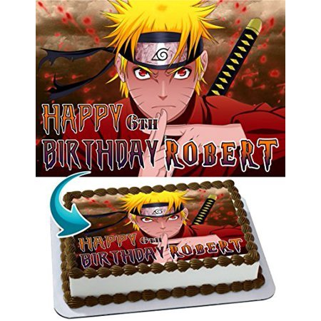 NARUTO Edible Cake Topper Personalized Birthday 1/4 Sheet Decoration Custom Sheet Birthday Frosting Transfer Fondant Image (Custom Decorations)