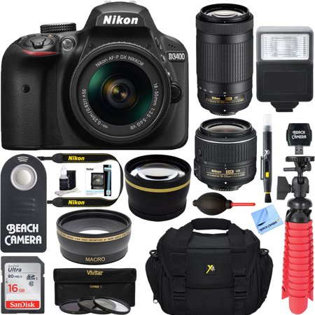 Nikon D3400 24.2MP DSLR Camera w/ AF-P 18-55 VR & AF-P DX 70-300mm VR Dual Lens Accessory Bundle - (Certified Refurbished) (Black) - Frozen Camera