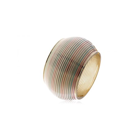 Tribal Inspired Pastel Colored Enamel Stripes Gold Tone Bangle Cuff Bracelet