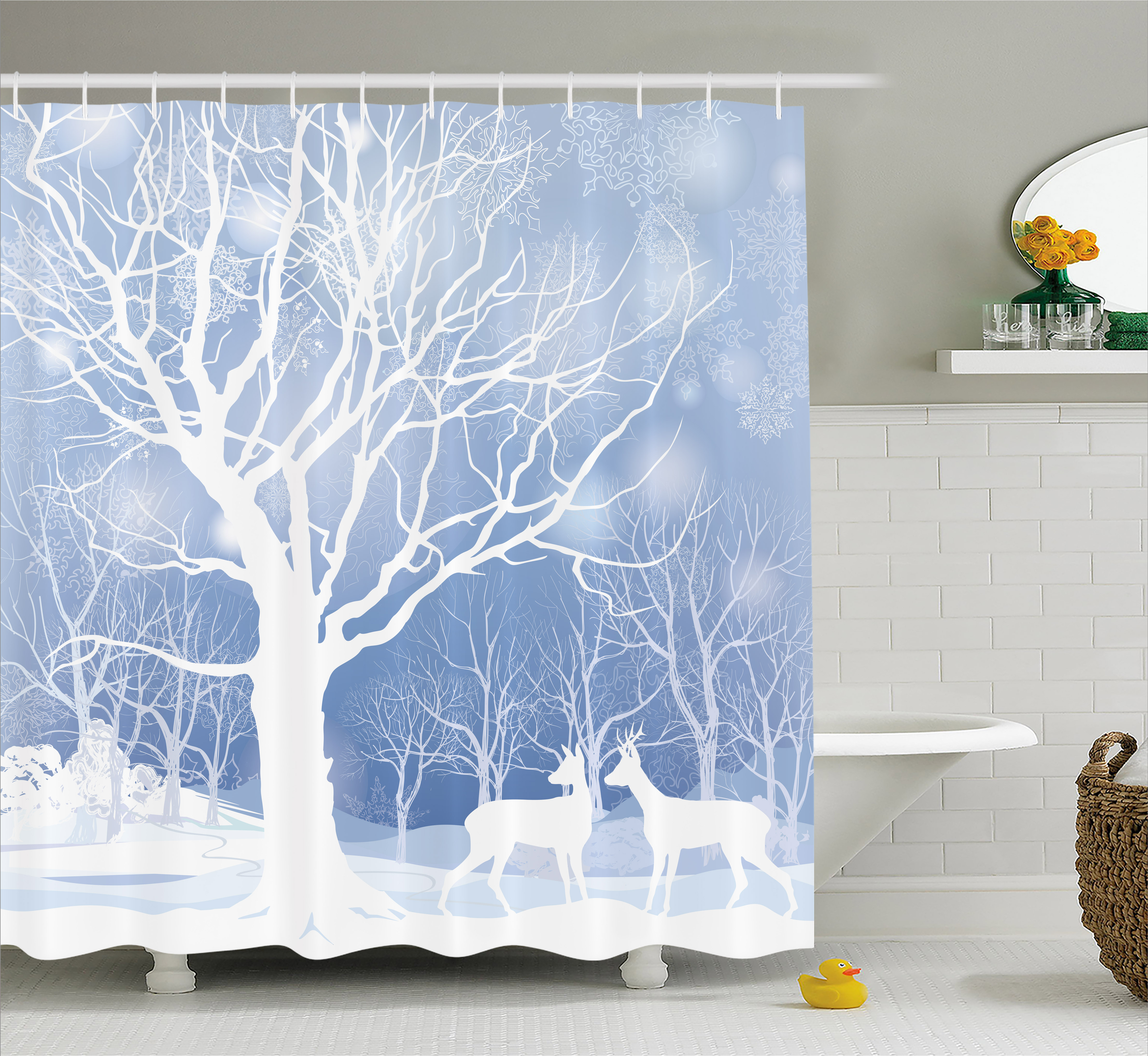 Winter Shower Curtain, Abstract Winter Imagery With Snowy Weather Deer And  Other Animals Seasonal Theme