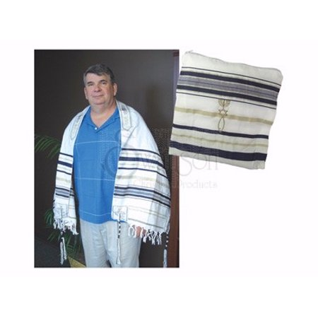 Tallit-New Covenant Prayer Shawl-White w/Gold & Dark Blue Threads (72  x 22 )