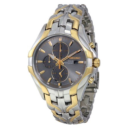 Seiko Solar Chronograph Grey Dial Two-tone Mens Watch SSC138