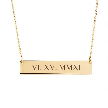 Personalized Rose Gold Women's Roman Numerals Pendant Stainless Steel Bar Custom Made Engravable Necklace Birthday Annivarsary Jewelry Free Gift Box Ships Next Day