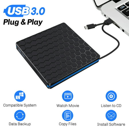 External DVD Drive, USB 3.0 Type C CD Drive, Dual Port DVD-RW Player, Portable Optical Burner Writer Rewriter, High Speed Data Transfer for Desktop PC MAC OS Windows (Best Optical Drive For Mac)