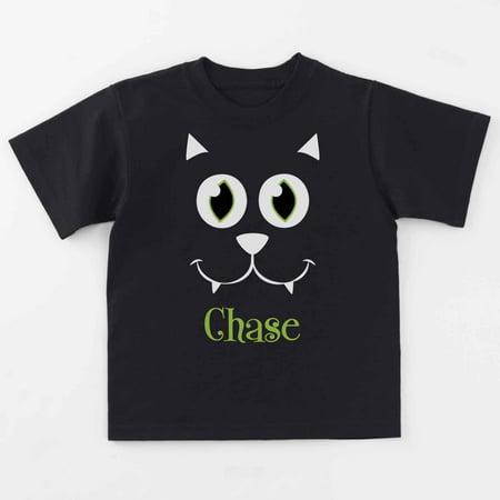 Personalized Big Face Black Cat T-Shirt, 2T