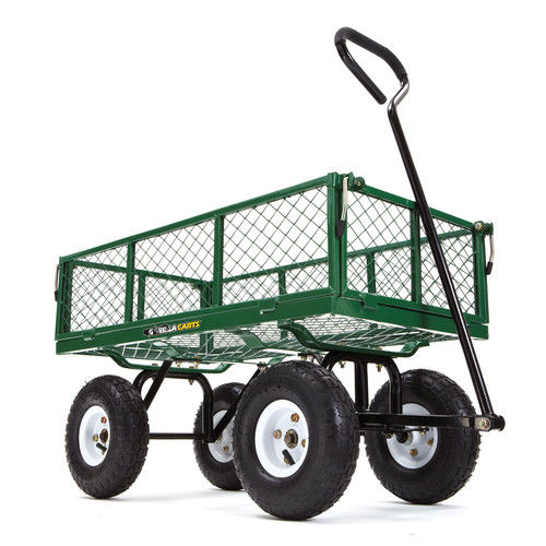 Gorilla Carts GOR400-COM Steel Garden Cart with Removable Sides, 400 lb Capacity, Green by Tricam Industries