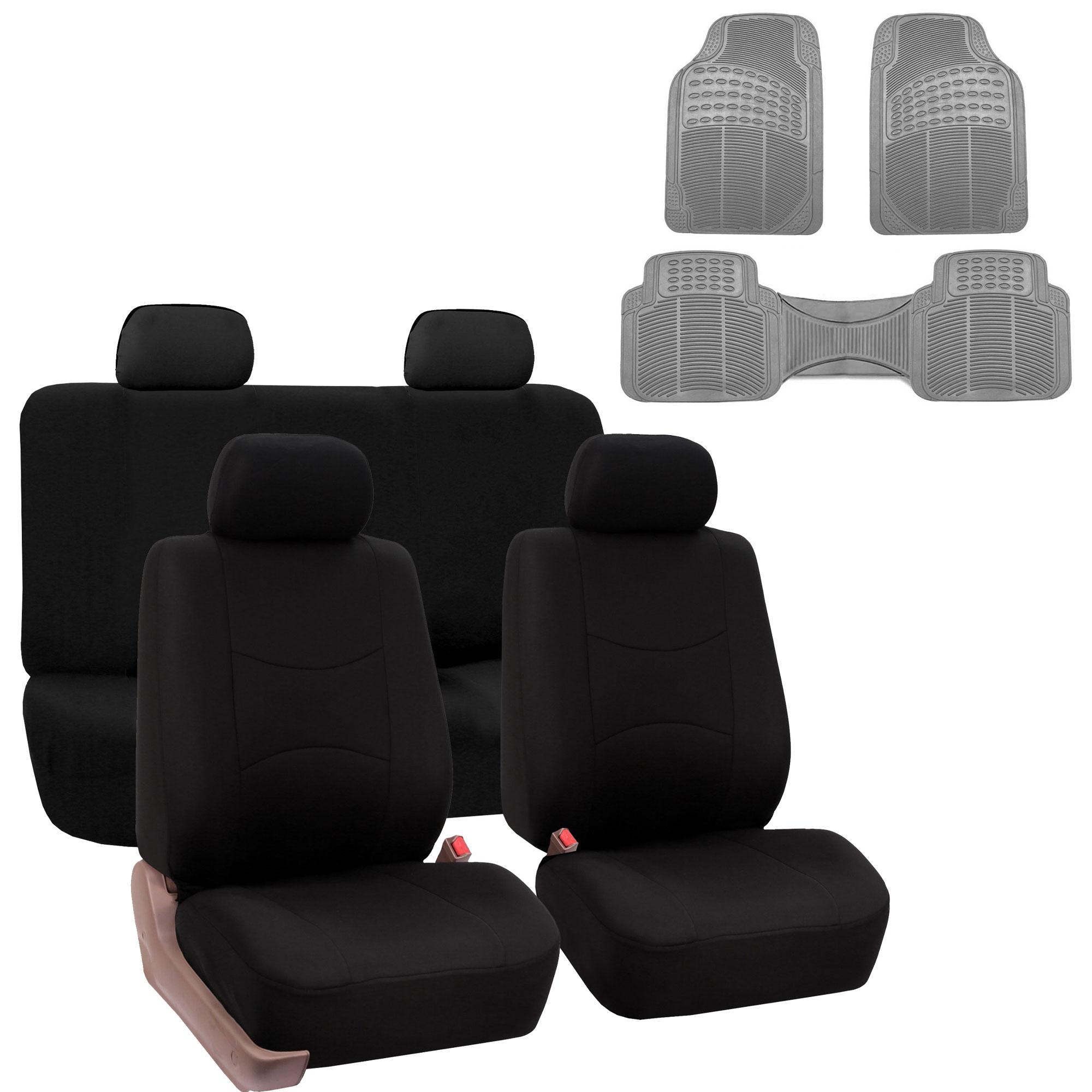 Car Seat Cover Full Set For For Auto Car SUV Truck Van w/ Floor Mat Black