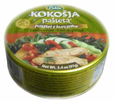 Chicken Pate, Kokosja (Cekin) 3.4 oz (97g) by