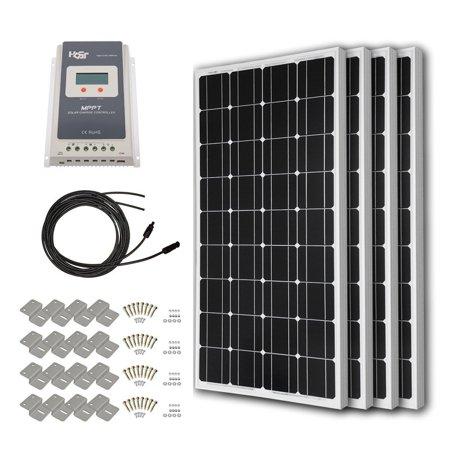 Lcd Panel Kit (HQST 200 Watt 12 Volt Monocrystalline Slim Solar Panel Kit with 30A Negative-Ground PWM LCD Display Charge)