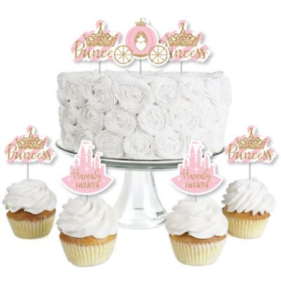 Little Princess Crown - Dessert Cupcake Toppers - Pink and Gold Princess Baby Shower or Birthday Party Clear Treat Picks - Set of 24  (Pink And Gold Princess Cake)