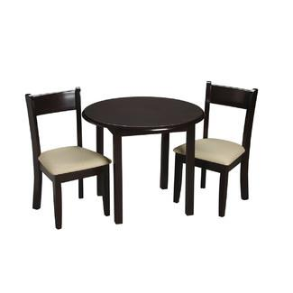 Children's Round Table with 2 matching Upholstered chairs-Finish:Espresso