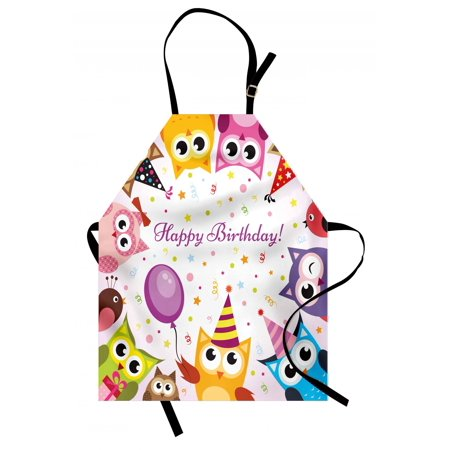 Kids Birthday Apron Birthday Party Owl Family with Colorful Cone Hats on Confetti Backdrop Art, Unisex Kitchen Bib Apron with Adjustable Neck for Cooking Baking Gardening, Multicolor, by Ambesonne - Confetti Cones