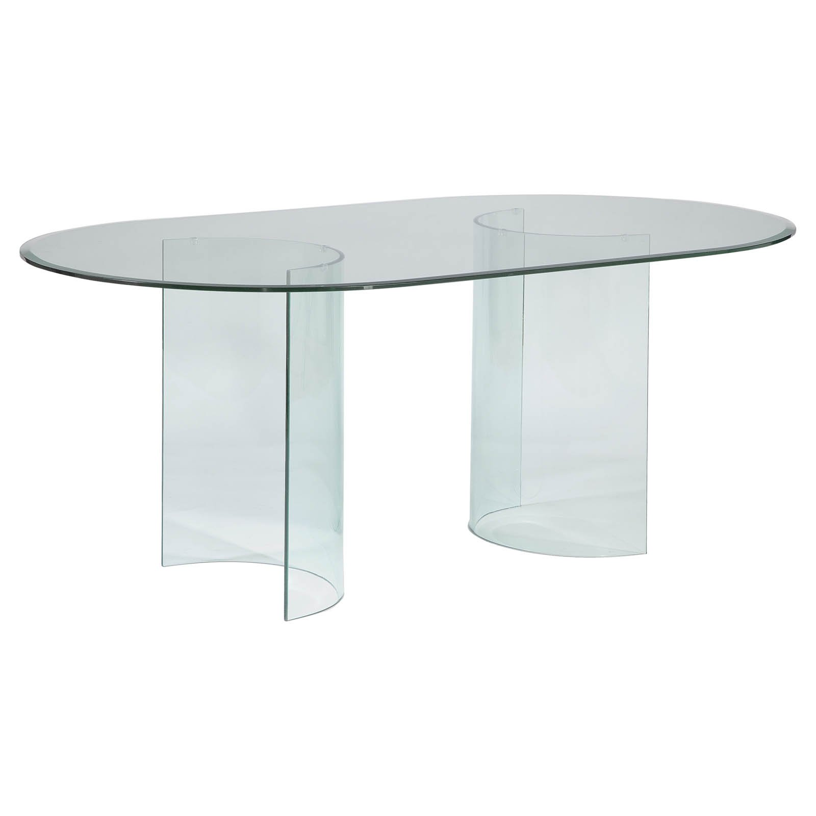 Chintaly Carmel Oval Dining Table With Glass Top Walmart Com