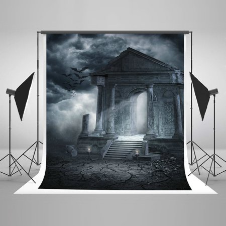 HelloDecor Polyster 5x7ft Haunted Castle Dark Bats Candle Photo Booth Props for Halloween Party Photography Backdrops (Halloween Haunted Castle Props)