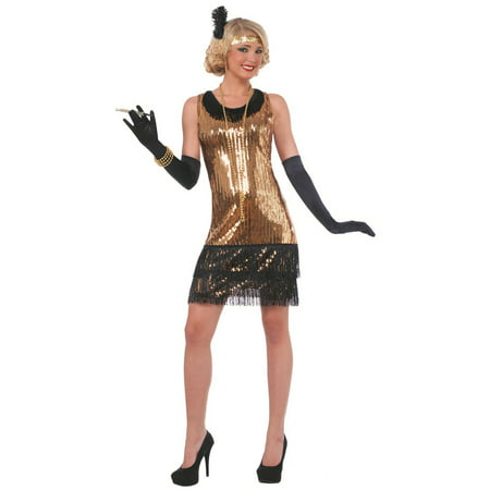 Womens Sequin Ritzy Glitzy Flapper Halloween Costume (Flapper Halloween Costume 2017)