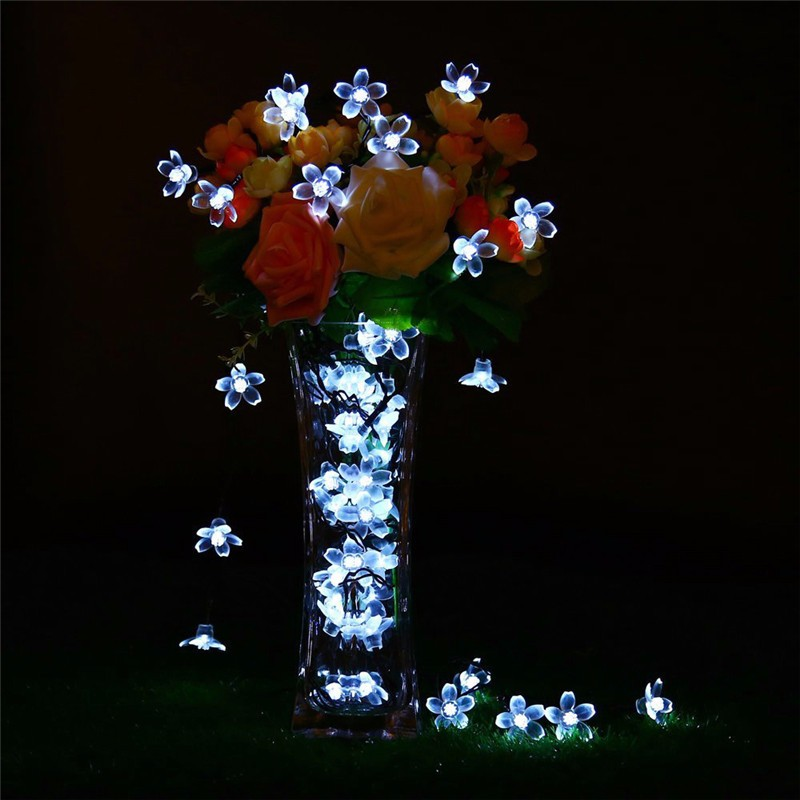 Christmas String Lights, Cherry Blossom Solar Christmas Lights For Patio  23ft 50 LED Decorative Outdoor
