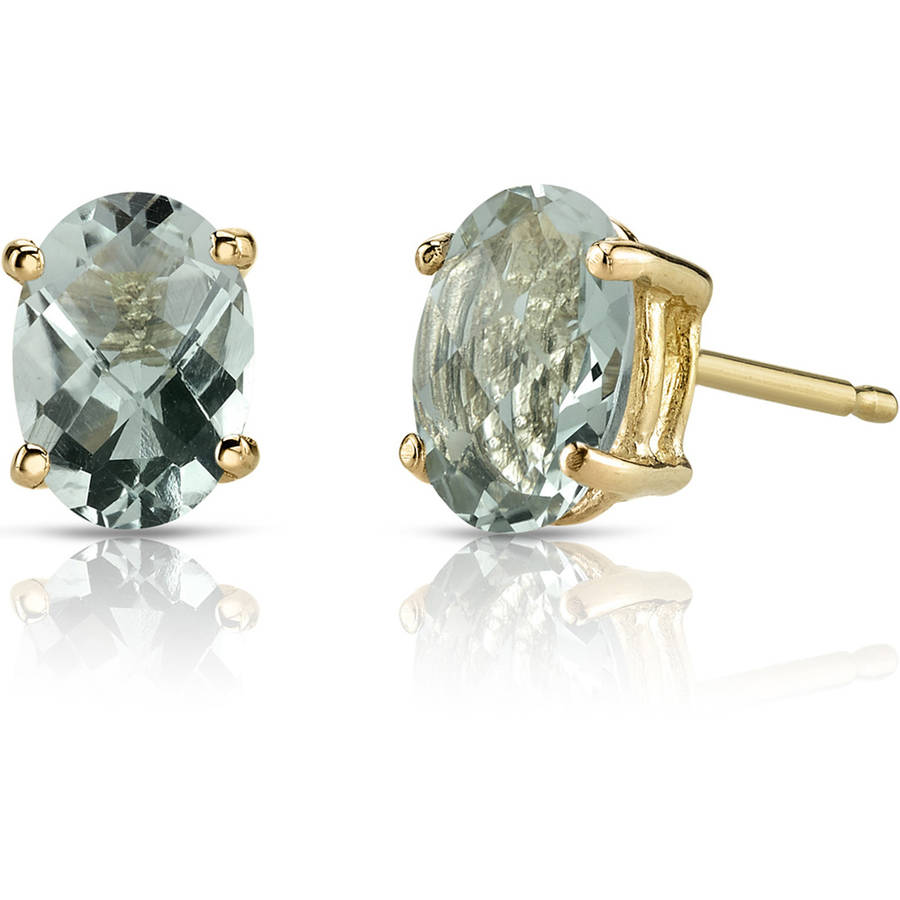 Oravo 1.50 Carat T.G.W. Oval-Shape Green Amethyst 14kt Yellow Gold Stud Earrings