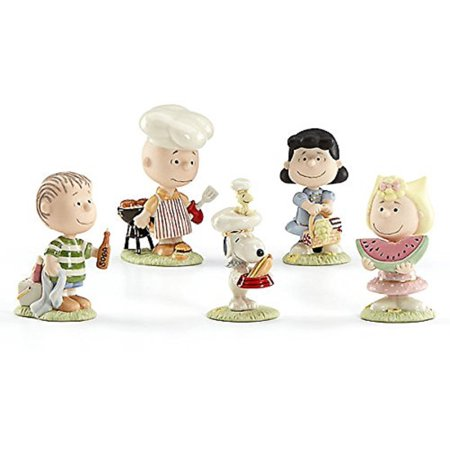 Lenox Peanuts Barbecue BBQ Porcelain Figurine 5 Piece Set 855656 Charlie Brown