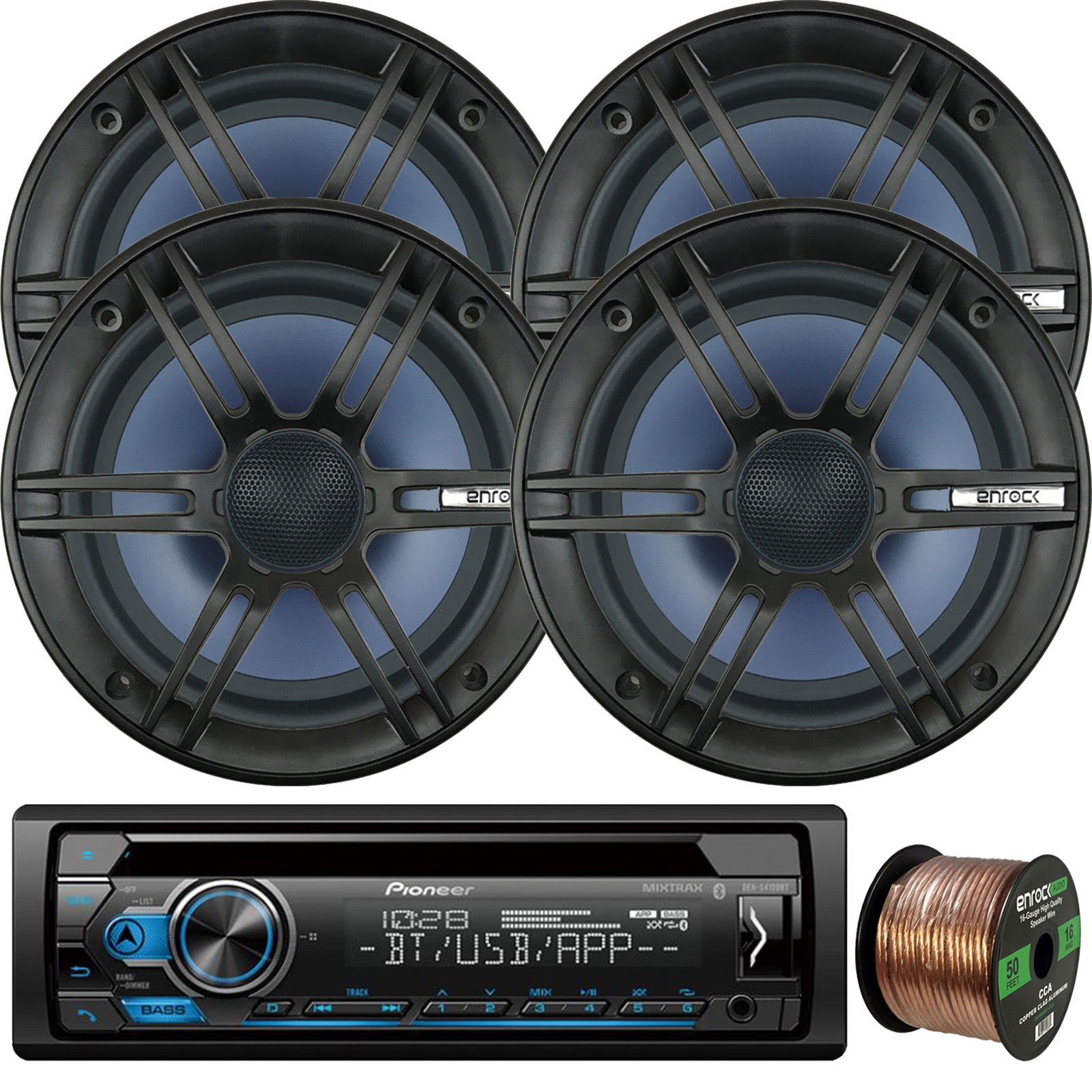"Pioneer DEH-S4100BT In-Dash Single-DIN CD Player Bluetooth Receiver, 4 x Enrock Audio 6.5"" 2-Way Marine-Grade Coaxial Car/Boat Audio Stereo Speakers, 16-Gauge 50Ft. Speaker Wire"
