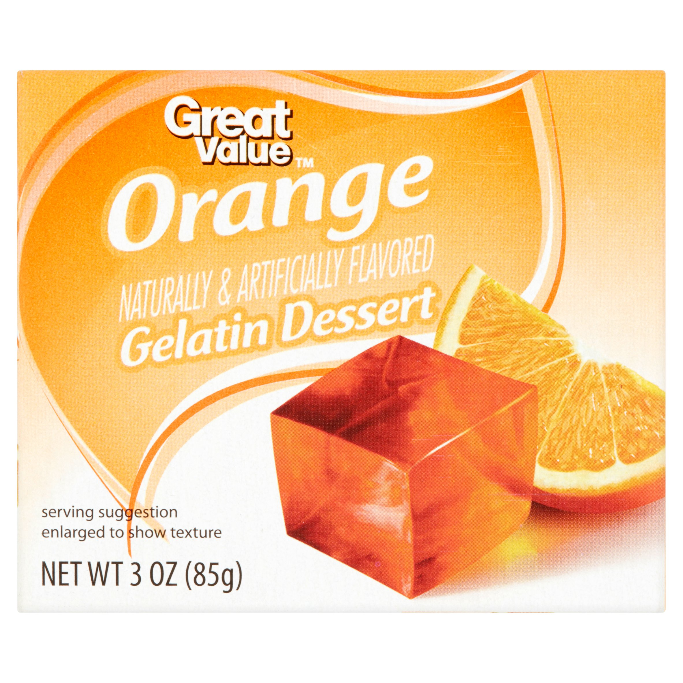 Great Value Orange Gelatin Dessert, 3 oz by Wal-Mart Stores, Inc.