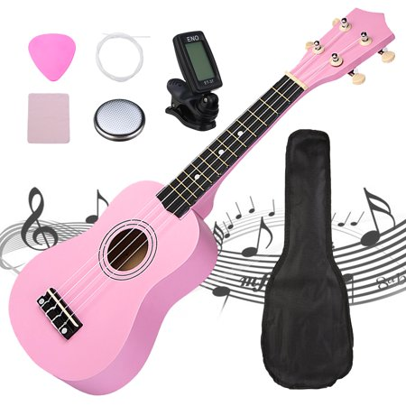 21'' Economic Basswood Ukulele Beginner Start Pack Kit w/ Carrier, Clip-On Tuner, Polishing Cloth, Extra String, Musical