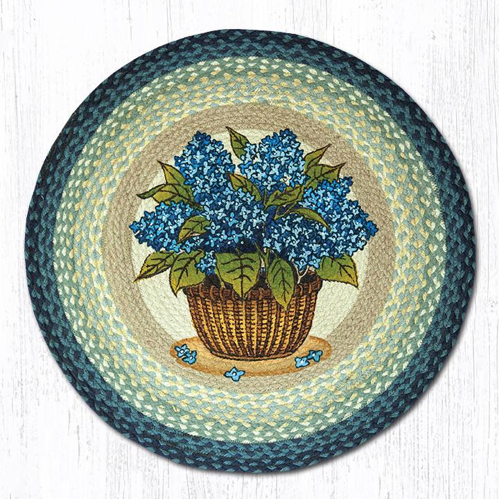 "Earth Rugs RP-362 Blue Hydrangea Round Patch 27""x27"""