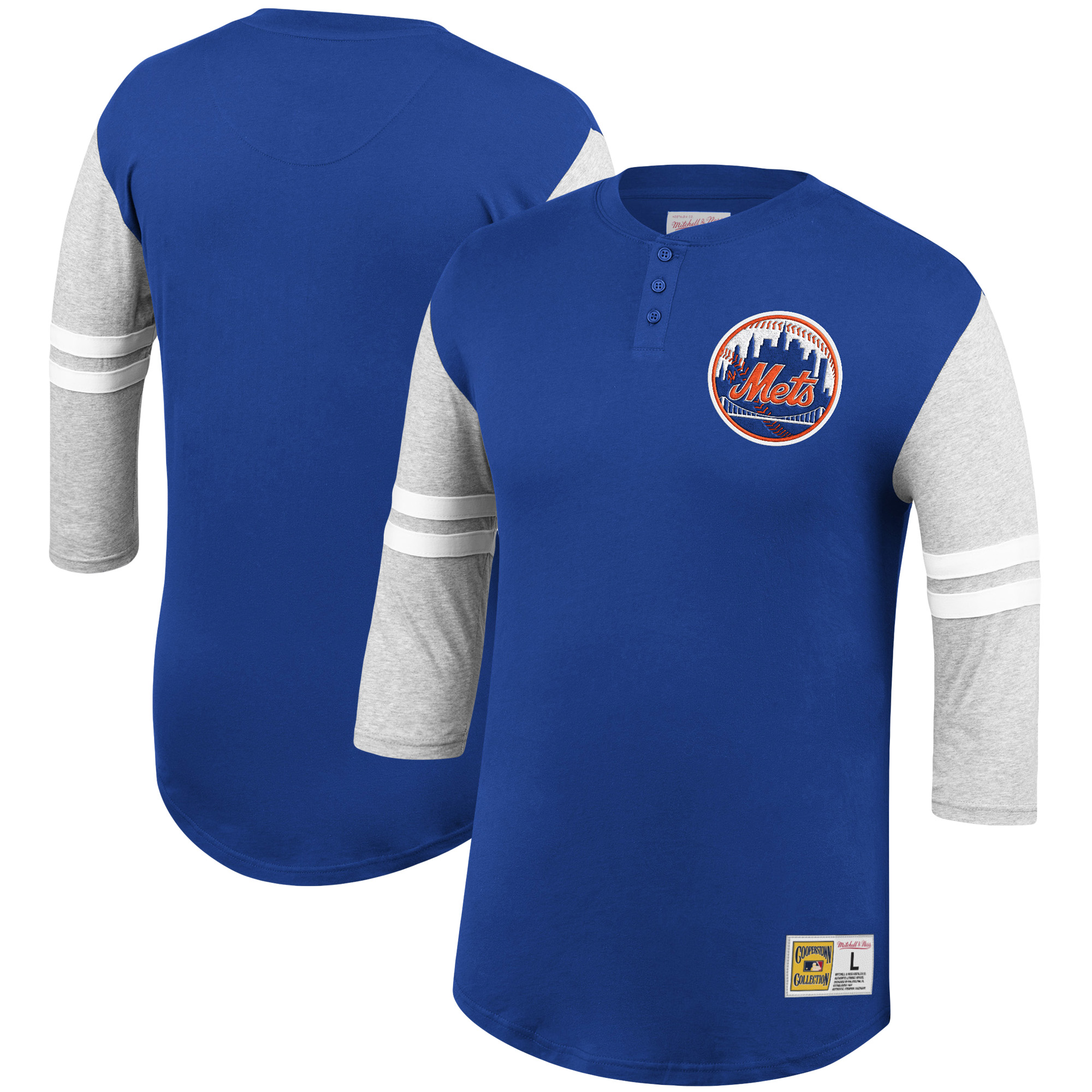 New York Mets Mitchell & Ness 3/4-Sleeve Henley T-Shirt - Royal