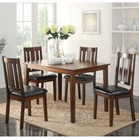 Acme Flihvine 5-Piece Dining Set, Black Faux Leather and Walnut