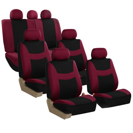 Burgundy 3 Seat - FH Group Light & Breezy Seat Covers for Auto, 3 Row 7 Seaters SUV VAN Full Auto Seat Covers Set, Burgundy and Black