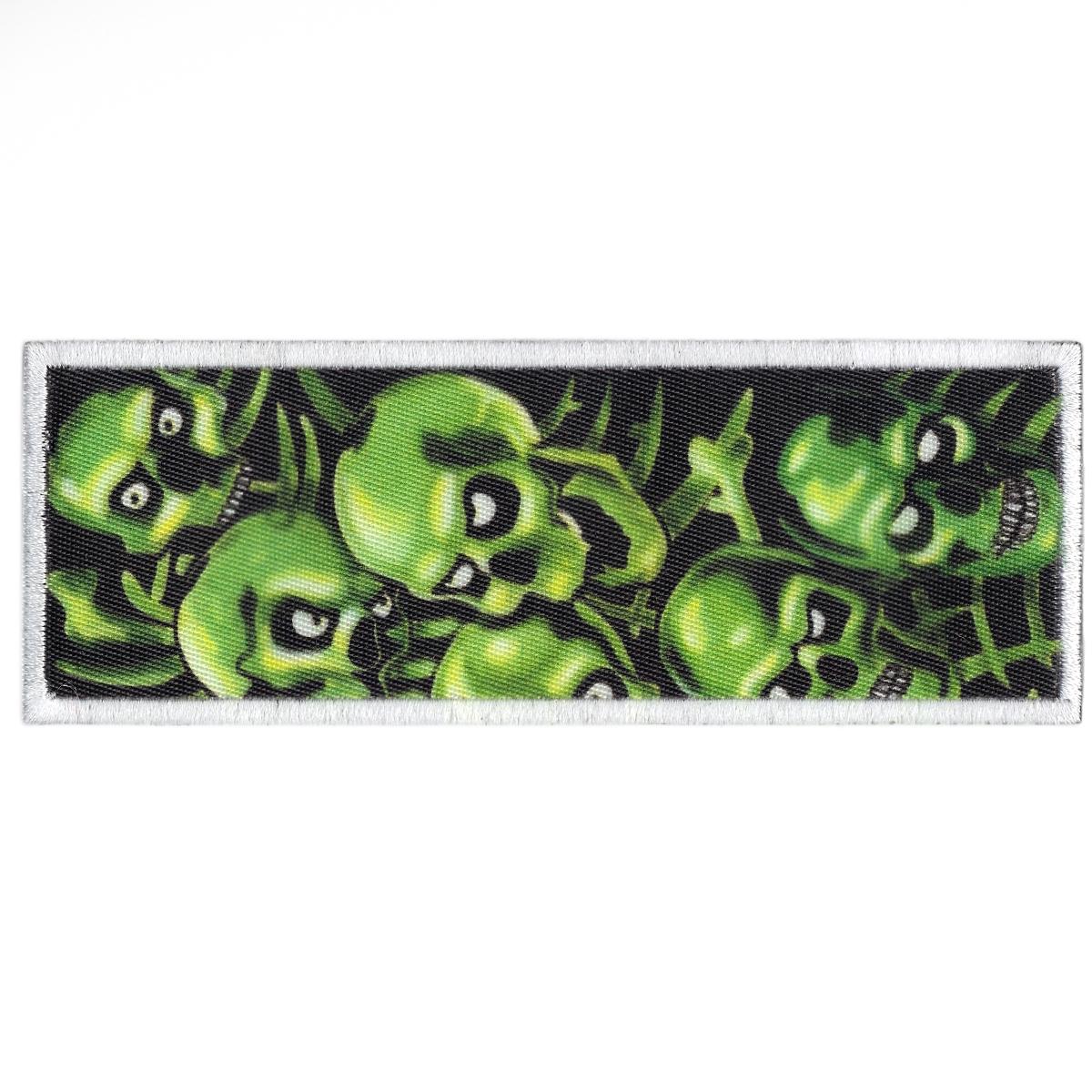 Green Skull Pile Box Box Logo Print Iron On Patch