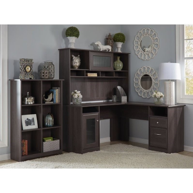 "Bush Cabot 60"" L-Shape Desk with Hutch and 6 Shelf Bookcase in Heather Gray"
