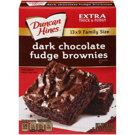 (4 Pack) Duncan Hines Dark Chocolate Fudge Brownies Brownie Mix, 18.2 oz