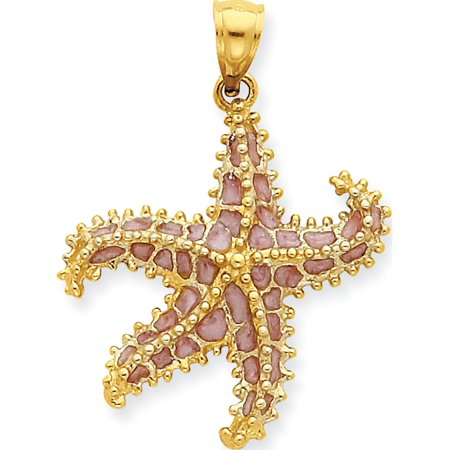 Leslies Fine Jewelry Designer 14k Yellow Gold Pink Enameled Starfish (23x32mm) Pendant Gift