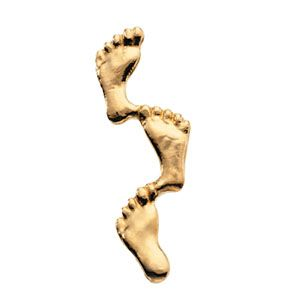 14k Yellow Gold Footprints In The Sand Lapel Pin 8x23mm 1.0 Grams by