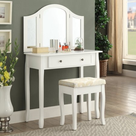 Roundhill Furniture Sunny White Wooden Vanity, Make Up Table and Stool Set ()