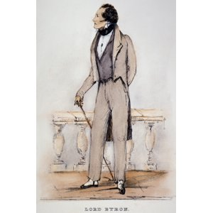 Stretched Canvas Art - George Gordon Byron. |N6Th Baron Byron (1788-1824): Etching, 1832, After A Sketch By Count Alfred D