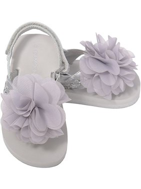 4ef054d8afb758 L Amour Silver Sequin Strap Flower Flip Flop Sandals Toddler Girl 5-10