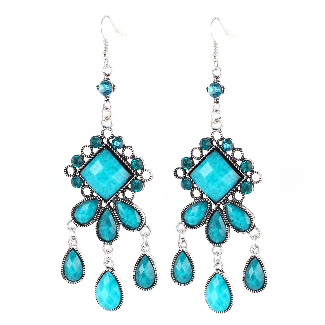 Unique Bargains Vintage Style Blue Waterdrop Bead Detailing Pendant Hook Earring Ear Drop Pair
