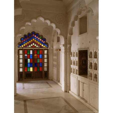 Original Old Stained Glass Windows and Traditional Niches Let into the Walls, Jodhpur, India Print Wall Art By John Henry Claude Wilson