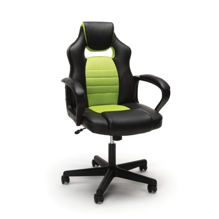Racing Style Adjustable Leather/Mesh Gaming/Office Chair with Wheels Green - OFM