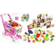 Kitchen Connection Toy Shopping Cart Playset- Pink