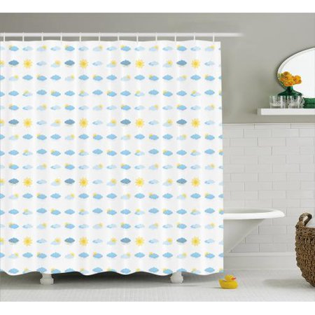 Blue And Yellow Shower Curtain Meteorology Icons Clouds Sun Bolts Rain Snow Natural Phenomena