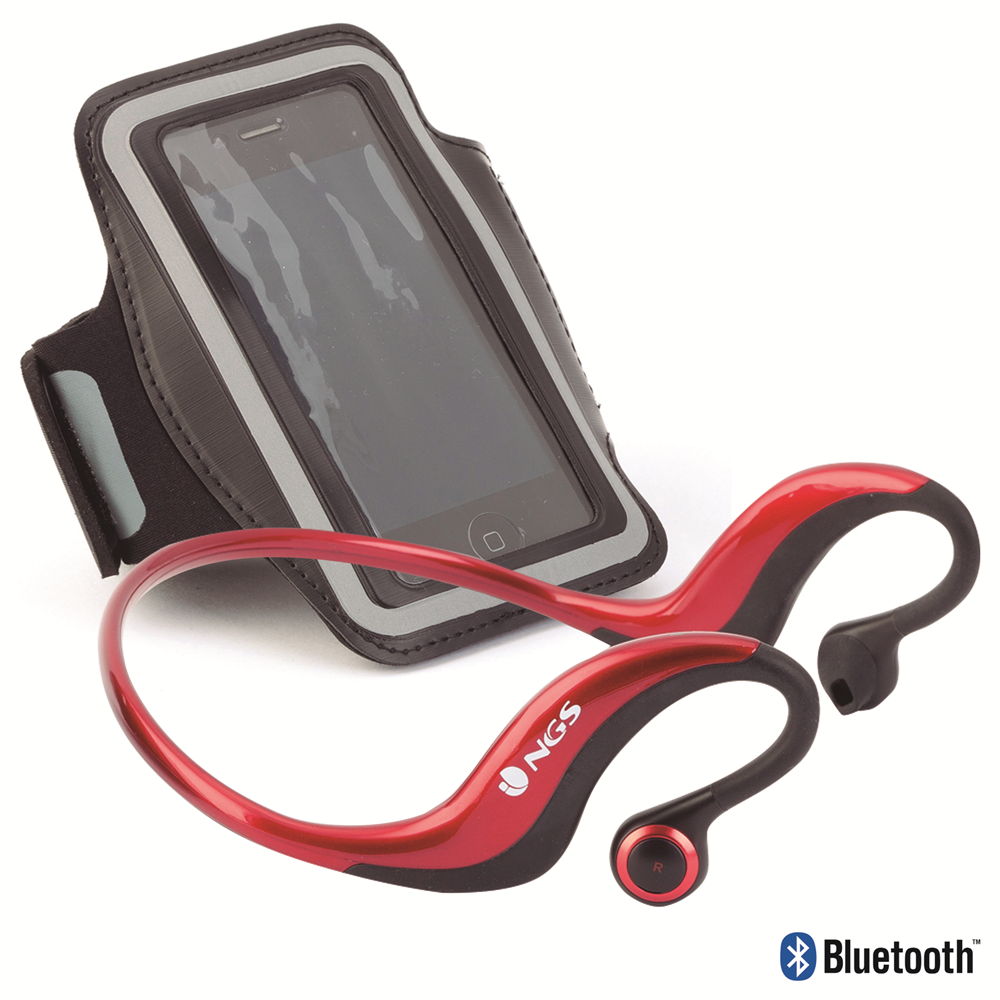 NGS Bluetooth Sports Earphones with Armband Included - Red