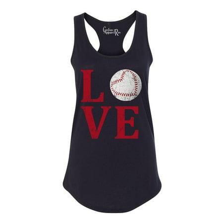 Love Baseball Distressed Womens Racerback Tank