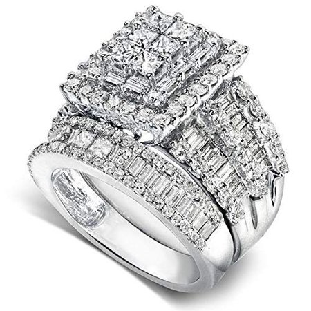 Kobelli Diamond Engagement Ring and Wedding Band Set 2 5/8ct.tw 14k White Gold (2 Carrot Diamond Engagement Ring)