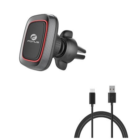 Car Mount w 6ft USB Cable, Magnetic Air Vent Holder, Type-C Charger Cord Power J8O for ZTE Blade X MAX, Imperial Max, Spark View, Duo LTE, Axon M, A7 Prime, Nubia 11, Avid 916, 9 Pro 7 Mini, 3 -  AWAccessory, 788322D-AW