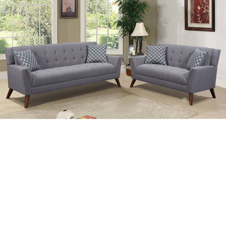 2 Piece Fabric Loveseat - Home Source Khloe Light Grey Fabric Tufted 2 Piece Sofa and Loveseat Set, 4 Accent Pillows