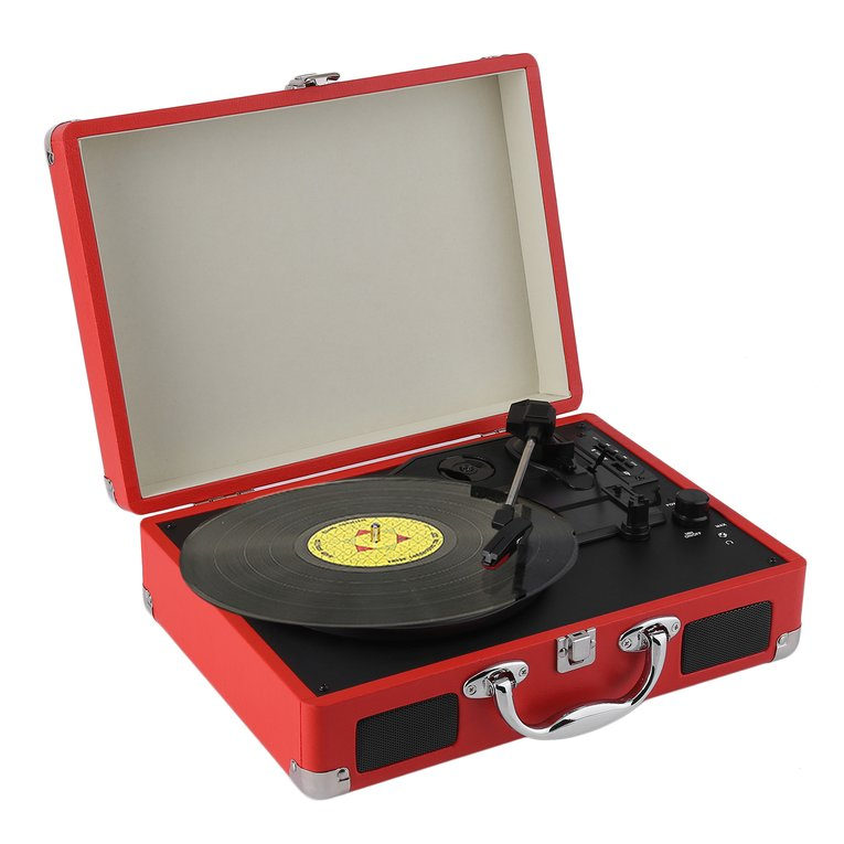 Portable Victrola Record Player 3-Speed Stereo Turntable With Bluetooth Playing Function USB Phono Pre-Amplifier