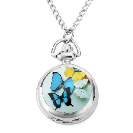 Colorful Butterfly Women Necklace Watch Round Open Box Pendant Quartz Mirror Dial Analog Pocket Watch Analog Brass Quartz Pocket Watch