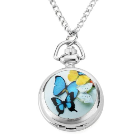 Tone Analog Pocket Watch - Colorful Butterfly Women Necklace Watch Round Open Box Pendant Quartz Mirror Dial Analog Pocket Watch Analog